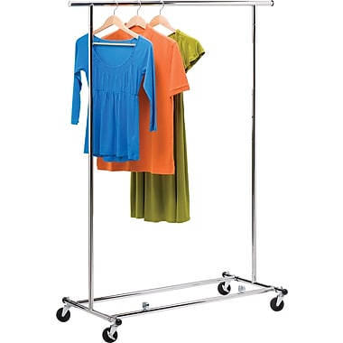 Rolling Garment Rack with Adjustable Bar/Height, Chrome