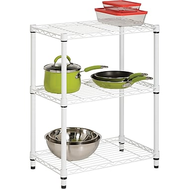 Honey Can Do 3-Tier Shelving Unit - 250 Lb. Capacity, White
