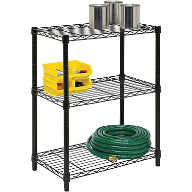 Honey Can Do 3-Tier Shelving Unit - 250 Lb. Capacity, Black