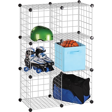Honey Can Do 6 Pack Modular Mesh Storage Cubes, Silver