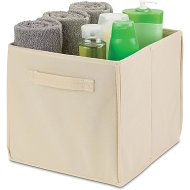 Honey Can Do 4 Pack Non-Woven Foldable Cube, Beige