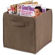 Honey Can Do 4 Pack Non-Woven Foldable Cube, Taupe