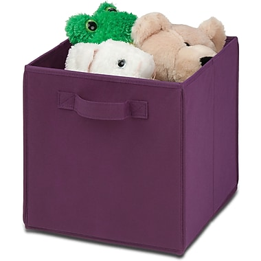 Honey Can Do 4 Pack Non-Woven Foldable Cube, Purple