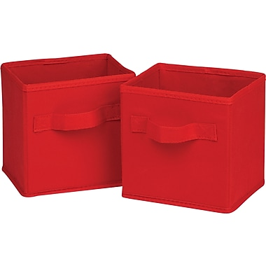Honey Can Do 6pk Mini Non-Woven Foldable Cube, Red