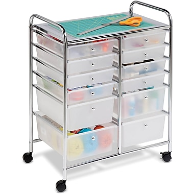 Honey Can Do 12 Drawer Plastic Storage Drawer Cart, SemiTransparent (CRT-01683)
