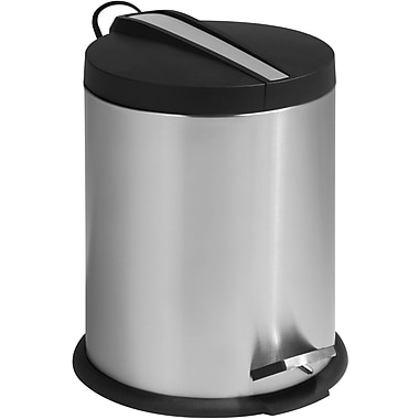 Honey Can Do 1.32 gal. 2-Tone Stainless Steel Round Step Trash Can, Silver
