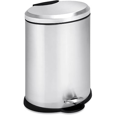 Honey Can Do 3.2 gal. Stainless Steel Oval Step Trash Can, Silver