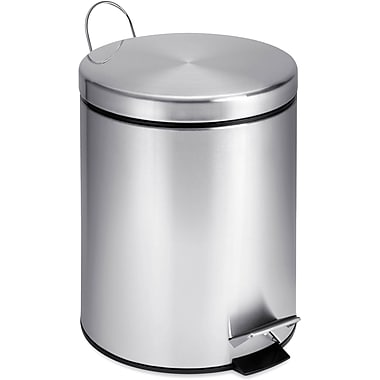 Honey Can Do Round Stainless Steel Step Can, 1.32 gal.