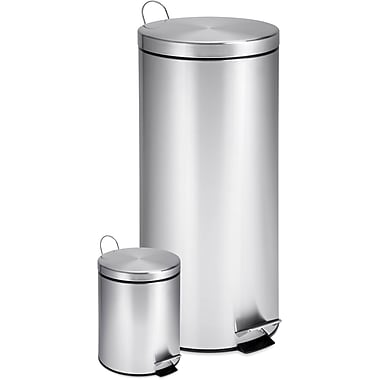 Honey Can Do Stainless Steel Steel Trash Cans, 7.9 gal. and 0.8 gal.