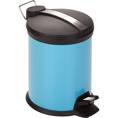 Honey Can Do Step Trash Can, Blue, 0.8 gal.