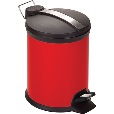 Honey Can Do Step Trash Can, Red, 0.8 gal.