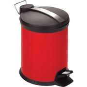 Honey Can Do 0.8 gal. Plastic Step Trash Can, Red
