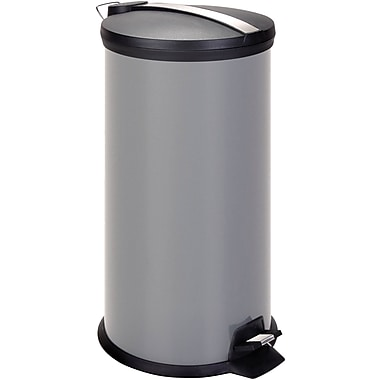 Honey Can Do Metal Step Trash Can, Gray, 7.9 gal.