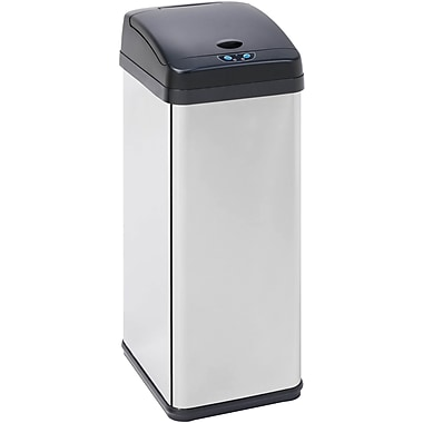 Honey Can Do 12.7 gal. Stainless Steel Sensor Trash Can, Silver
