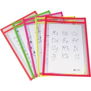 9 x 12 Reusable Dry Erase Pockets Neon Colors