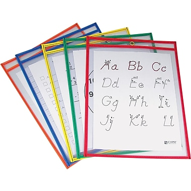 9in. x 12in. Reusable Dry Erase Pockets Primary Colors, 5/pack