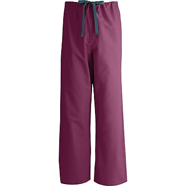 Medline AngelStat Unisex Large Reversible Drawstring Scrub Pants, Raspberry (600NTRL-CA)