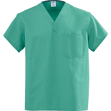 Angelstat® Unisex Two-pocket Rev V-neck Scrub Tops, Jade Green, XS