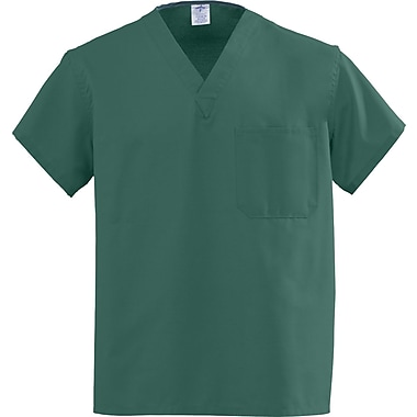 Angelstat® Unisex Two-pocket A-Stat Rev V-neck Scrub Tops, Hunter Green, ANG-CC, Small