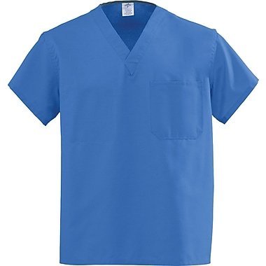 Angelstat® Unisex Two-pocket Rev V-neck Scrub Tops, Sapphire, Small