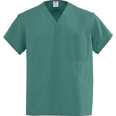 Medline AngelStat Unisex XL Reversible V-Neck Scrub Top, Emerald Green (610NJTXL-CA)