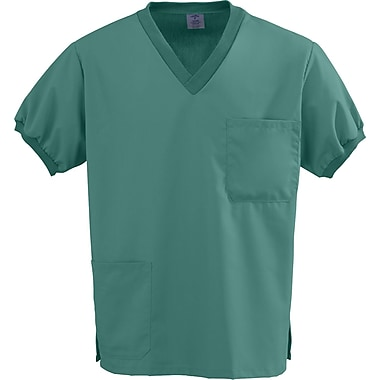 Angelstat® Unisex Two-pockets Knit Trim V-neck Scrub Tops, Emerald, Large