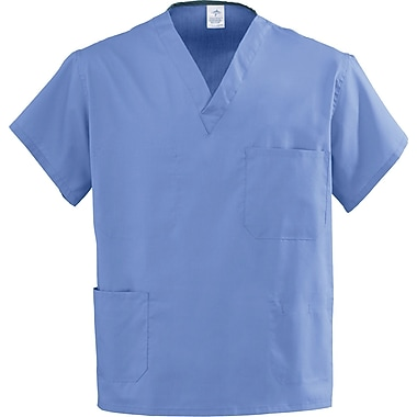 Angelstat® Unisex Two-pockets V-neck Rev Scrub Tops, Ceil Blue, MDL-CC, XS