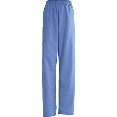 AngelStat® Unisex Elastic Cargo Scrub Pants, Ceil Blue, Small, Long Length