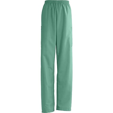 AngelStat® Unisex Elastic Cargo Scrub Pants, Jade, Small, Medium Length
