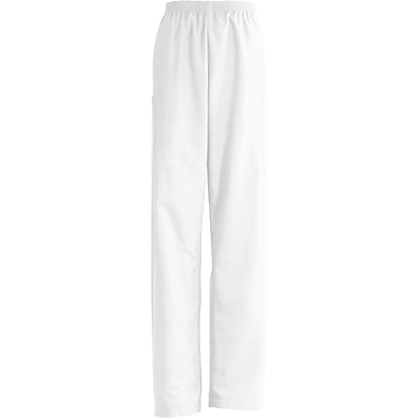 AngelStat® Unisex Elastic Cargo Scrub Pants, White, Small, Long Length