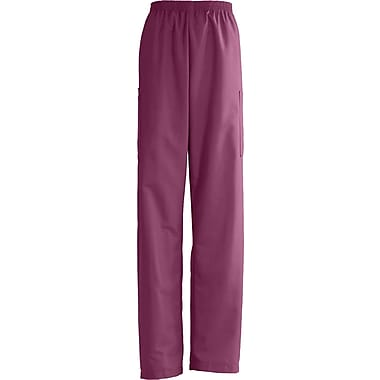 AngelStat® Unisex Elastic Cargo Scrub Pants, Raspberry, Medium, Long Length