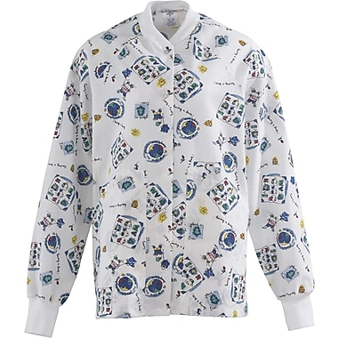 Angelstat® Ladies Two-pockets Knit Collar Warm-up Scrub Jackets, Fun Kids Print Color, XL