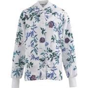Angelstat® Ladies Two-pockets Knit Collar Warm-up Scrub Jackets, Blue Floral Print, Medium