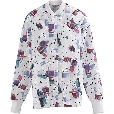 AngelStat® Ladies Two-pockets Knit Collar Warm-up Scrub Jackets, Skyline Print, Medium