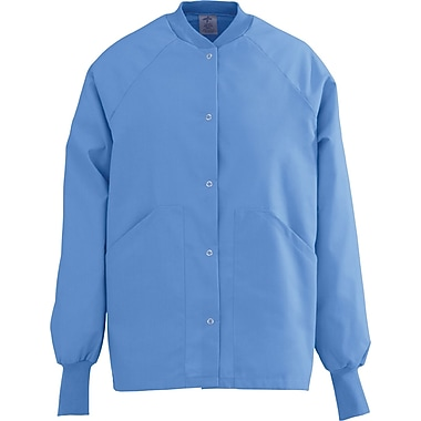 Angelstat® Ladies Two-pockets Knit Collar Warm-up Scrub Jackets, Ceil Blue, 2XL