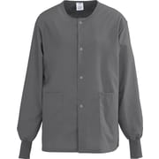 AngelStat® Unisex Two-pockets Snap-front Warm-up Scrub Jackets, Charcoal, XS