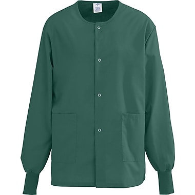 AngelStat® Unisex Two-pockets Snap-front Warm-up Scrub Jackets, Hunter Green, XS