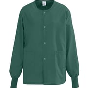 AngelStat® Unisex Two-pockets Snap-front Warm-up Scrub Jackets, Hunter Green, XL
