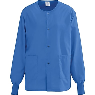 AngelStat® Unisex Two-pockets Snap-front Warm-up Scrub Jackets, Sapphire, XS