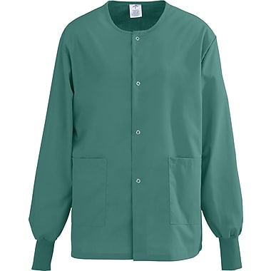 AngelStat® Unisex Two-pockets Snap-front Warm-up Scrub Jackets, Emerald, XS