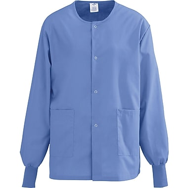 AngelStat® Unisex Two-pockets Snap-front Warm-up Scrub Jackets, Ceil Blue, XS