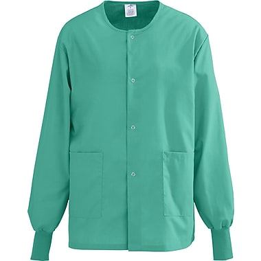 AngelStat® Unisex Two-pockets Snap-front Warm-up Scrub Jackets, Jade, Medium