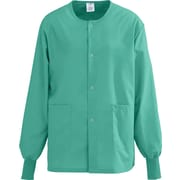 AngelStat® Unisex Two-pockets Snap-front Warm-up Scrub Jackets, Jade, Small