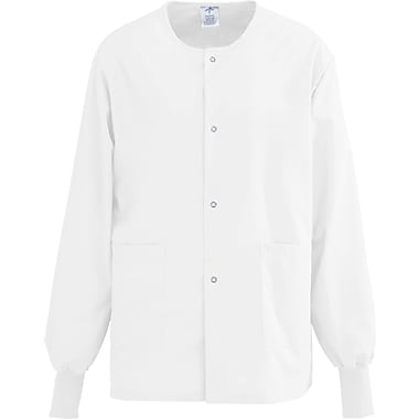 AngelStat® Unisex Two-pockets Snap-front Warm-up Scrub Jackets, White, XS
