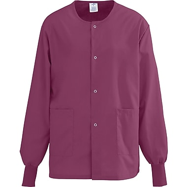 AngelStat® Unisex Two-pockets Snap-front Warm-up Scrub Jackets, Raspberry, XS