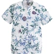 Angelstat® Ladies Two-pockets Jewel Neck Snap-front Scrub Tops, Royal Blue Floral Print, 3XL