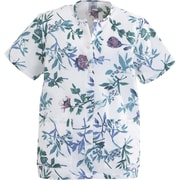 Angelstat® Ladies Two-pockets Jewel Neck Snap-front Scrub Tops, Royal Blue Floral Print, XL