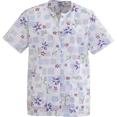 Angelstat® Ladies Two-pockets Jewel Neck Snap-front Scrub Tops, Tile Blossom, 3XL