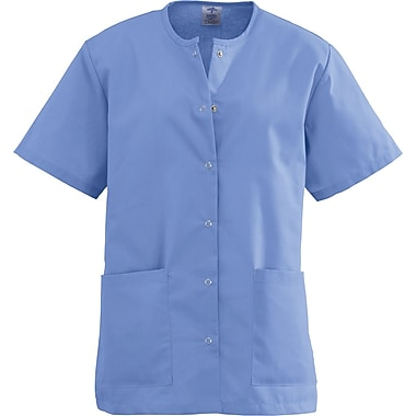 Angelstat® Ladies Two-pockets Jewel Neck Snap-front Scrub Tops, Ceil Blue, 3XL