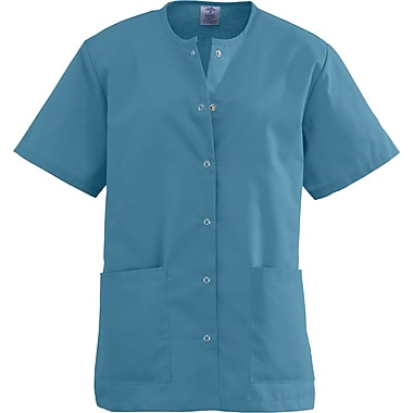 Angelstat® Ladies Two-pockets Jewel Neck Snap-front Scrub Tops, Peacock, Small